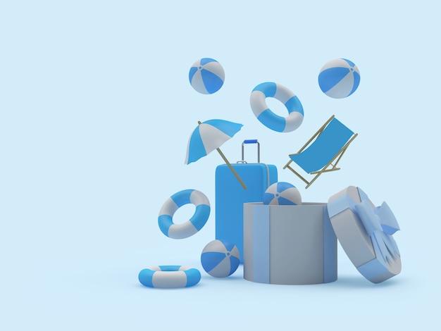 Strandaccessoires en koffer vliegen uit geschenkdoos