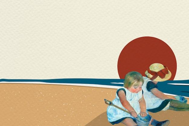 Strandachtergrond met samen spelende kinderen, geremixt naar kunstwerken van mary cassatt