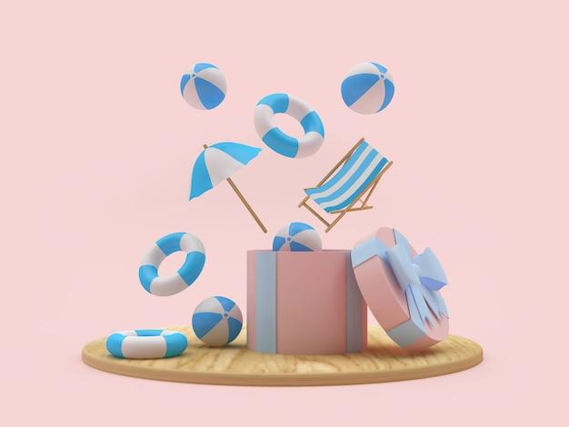 Strandballen en parasol en ligstoel vliegen uit een geschenkdoos