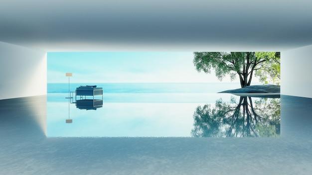 Strandleven - oceaanvillakust & overzeese mening voor vakantie en de zomer / het 3d teruggeven