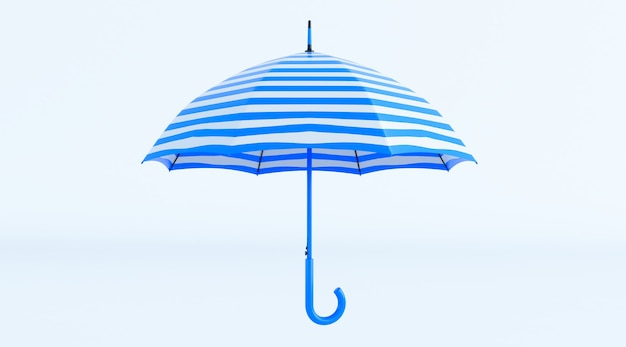 Strandparaplu blauw en wit geïsoleerd op een witte achtergrond. 3d render