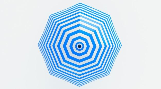 Strandparaplu blauw en wit geïsoleerd op een witte achtergrond. bovenaanzicht. 3d render
