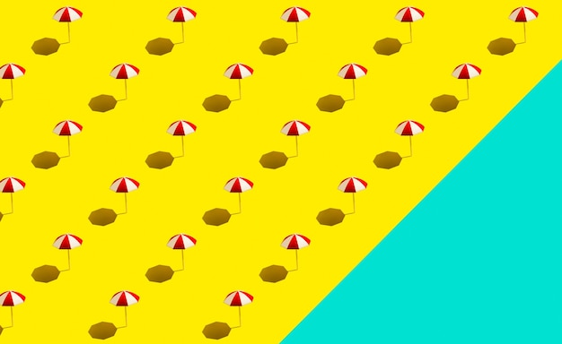 Strandparasols parasols op geel blauw patroon als achtergrond. oceaan en strand thema. strandvakantie concept.