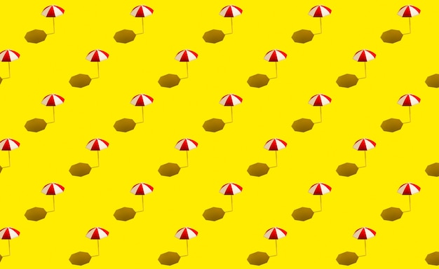 Strandparasols parasols op geel patroon als achtergrond. strandvakantie concept.