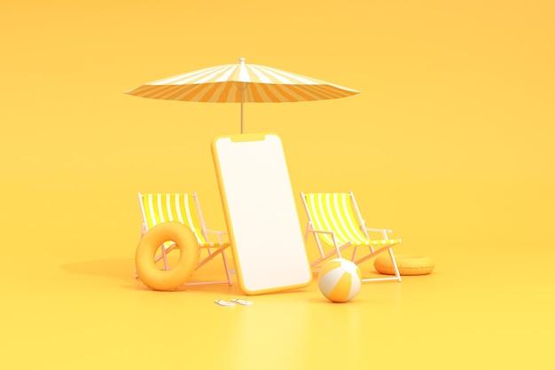 Strandstoelen met paraplu en leeg scherm van slimme telefoon, zomerconcept, minimale scène.
