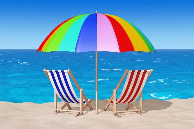 Strandstoelen op het zand sunny beach extreme close-up. 3d-rendering
