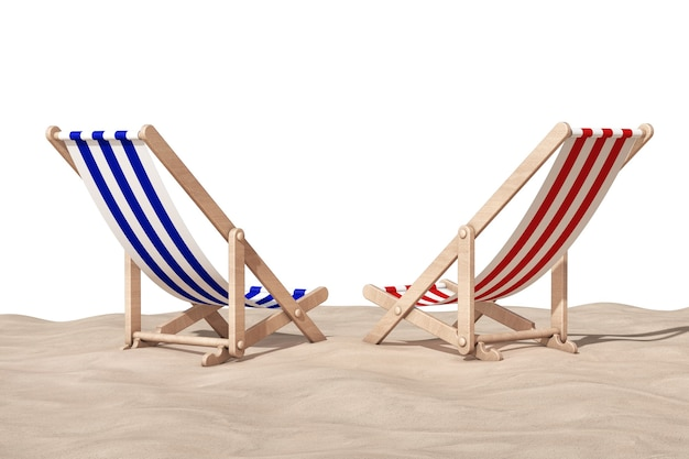 Strandstoelen op het zand sunny beach op een witte achtergrond. 3d-rendering