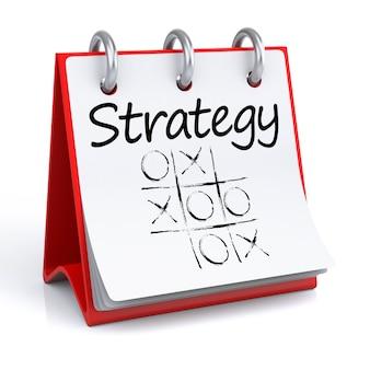 Strategie. 3d-rendering geïsoleerde kalender met strategie.