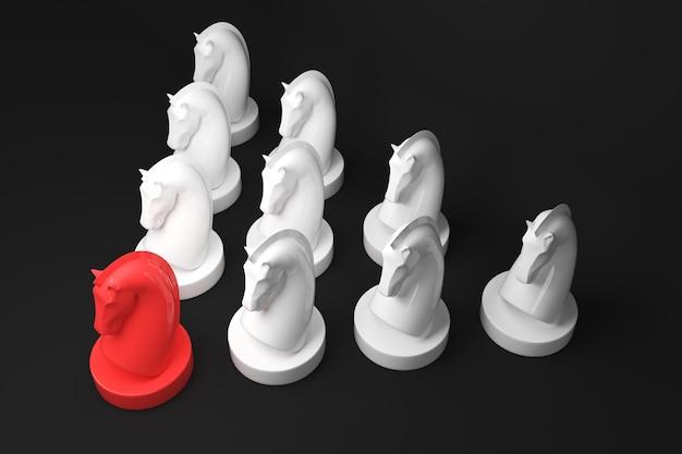 Strategieconcept het bordspel van het paardschaak op zwarte kleurenachtergrond. 3d render.