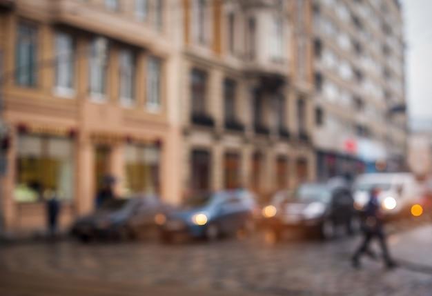 Straten van de stad vervagen zonder focus