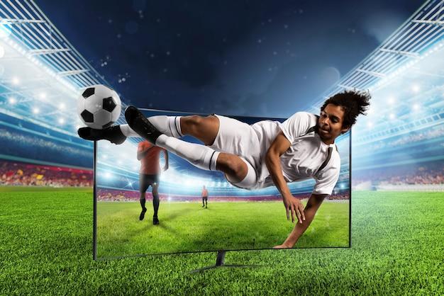 Streaming tv-kanaal van voetballer die de bal trapt