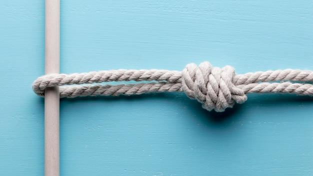 Streng sterk wit touw met een bar