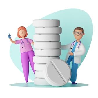 Stripfiguren arts en verpleegkundige in de buurt van de grote toren van pillen, stapel drugs, apotheek.