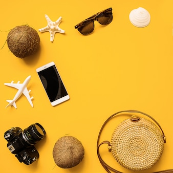 Strohoed, retro-filmcamera, bamboetas, zonnebril, kokosnoot, ananas, zeeschelpen en zeesterren, vliegtuig
