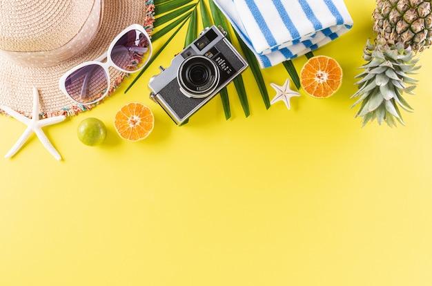 Strohoed, zonnebril, palmtakken, ananas en retro camera