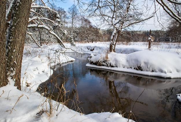 Stromende rivier in een besneeuwd winterbos takken van bomen bedekt met verse sneeuw