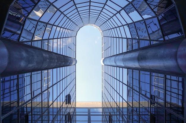 Structurele glazen gevel van een fantastisch kantoorgebouw