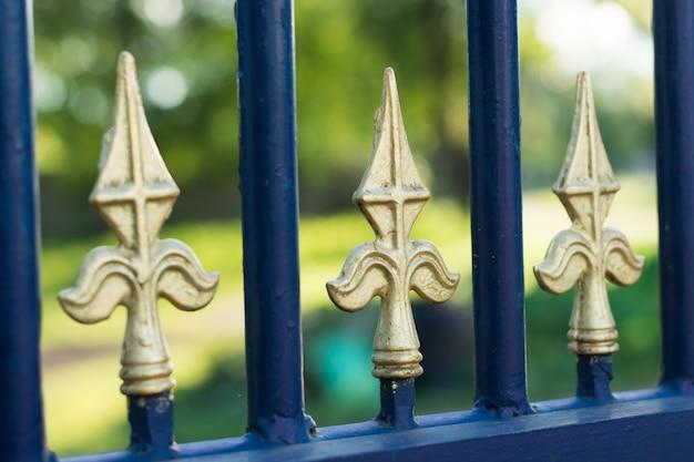 Structuur en ornamenten van smeedijzer en poort