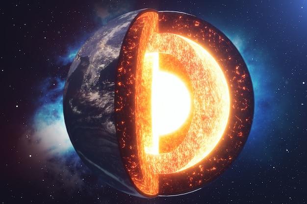 Structuur kern aarde. structuurlagen van de aarde. de structuur van de aardkorst. dwarsdoorsnede van de aarde in de ruimte. elementen van deze afbeelding geleverd door nasa. 3d-weergave.