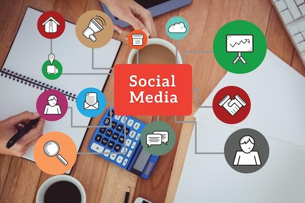 Structuur van social media met gekleurde pictogrammen