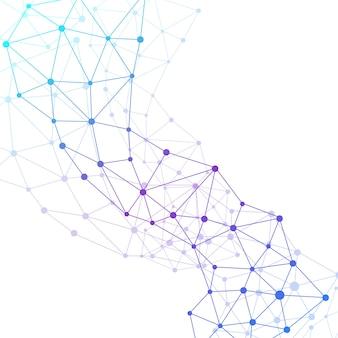 Structuurmolecuul en communicatie. dna, atoom, neuronen. wetenschappelijke molecuulachtergrond voor geneeskunde, wetenschap, technologie, scheikunde, illustratie