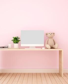 Studeerkamer en roze muur versieren voor kunstwerken