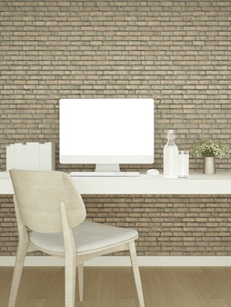 Studeerkamer hout en bakstenen muur versieren voor kunstwerken
