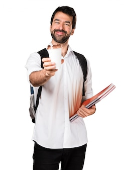 Student man die een koffie houdt