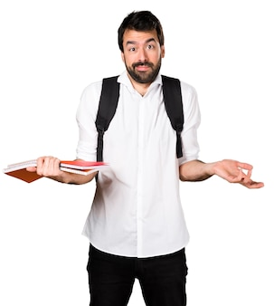 Student man maakt onbelangrijk gebaar
