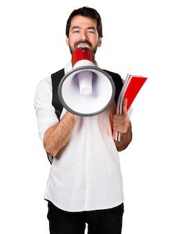 Student man schreeuwen door megafoon