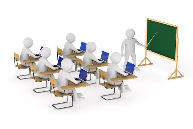 Studenten en leraar op wit.
