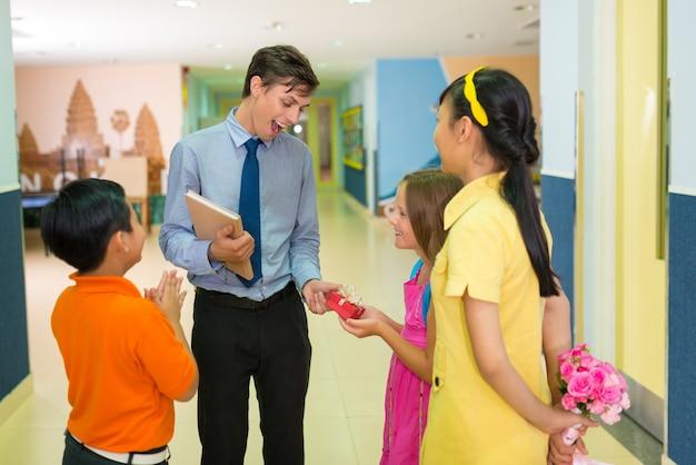 Studenten en leraar