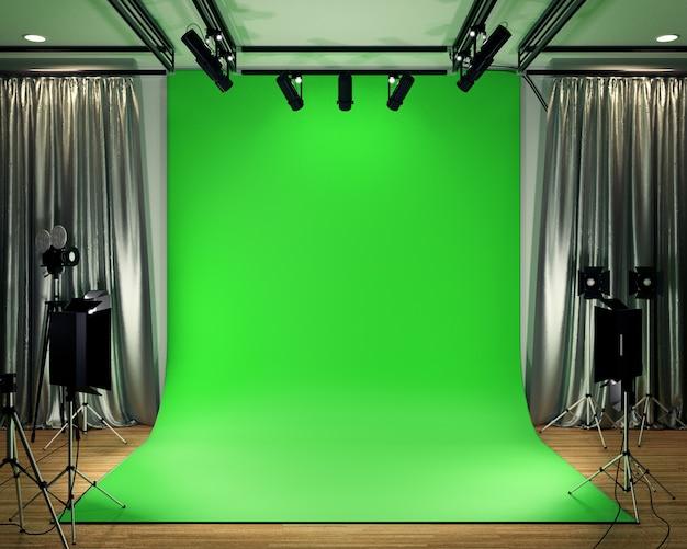 Studio big - moderne filmstudio met groen scherm. 3d-rendering