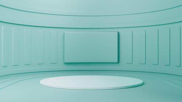 Studio met geometrische vormen, podium op de vloer. 3d-rendering
