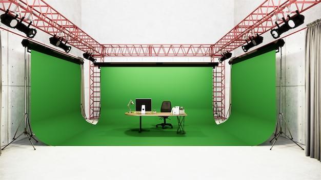 Studio - moderne filmstudio met wit scherm. 3d-weergave