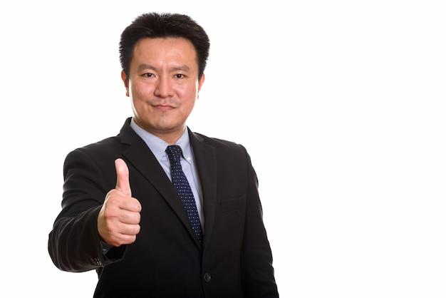 Studio shot van japanse man geïsoleerd tegen witte achtergrond