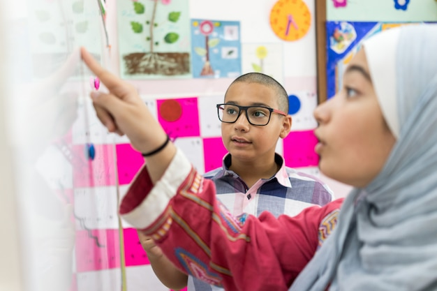 Studnets die een wiskundevraag bespreken over whitebpard in klaslokaal