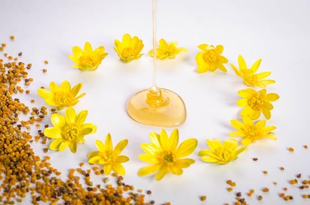Stuifmeel en gegoten honing