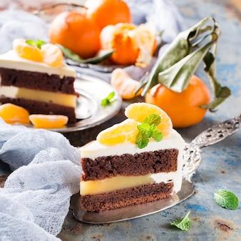 Stuk heerlijke chocoladetaart Premium Foto