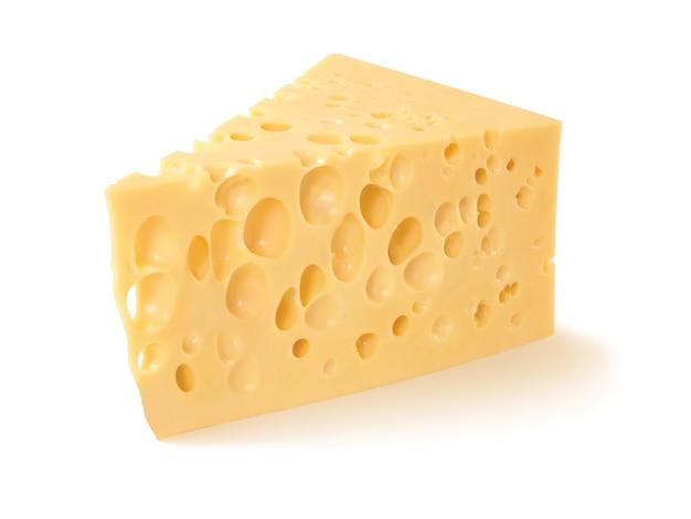 Stuk kaas op wit wordt geïsoleerd