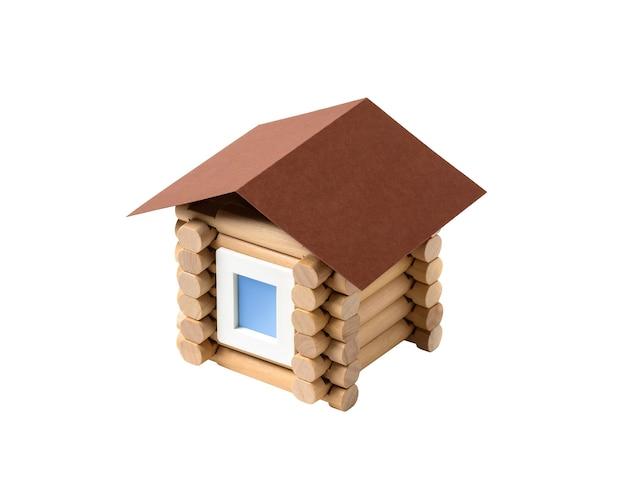 Stuk speelgoed blokhuismodel op een witte achtergrond