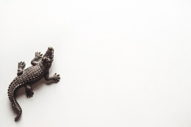 Stuk speelgoed bruine krokodil op witte achtergrond voor decoratie
