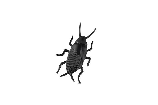 Stuk speelgoed plastic zwarte kakkerlak, die op witte achtergrond wordt geïsoleerd