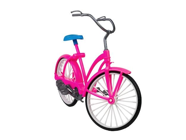 Stuk speelgoed rode fiets met een blauwe zitting die op wit oppervlak wordt geïsoleerd