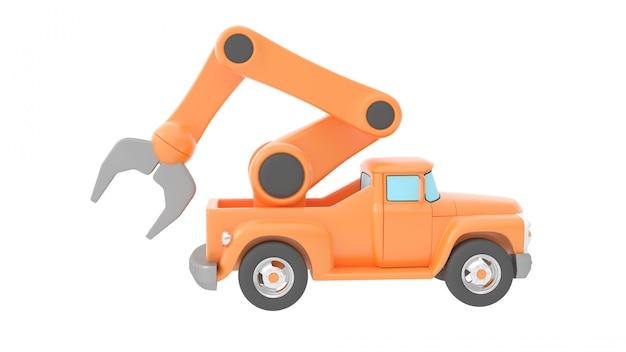 Stuk speelgoed vrachtwagenkraan over witte backgroung wordt geïsoleerd die