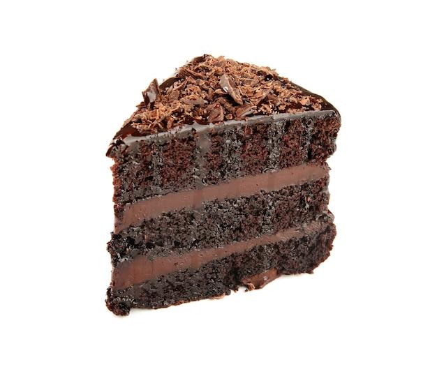 Stuk van heerlijke chocoladetaart geïsoleerd