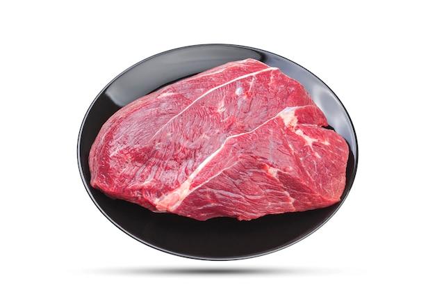 Stuk van ruw varkensvlees dat op wit, met het knippen van weg wordt geïsoleerd