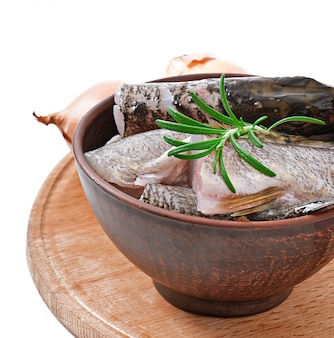 Stuk verse rauwe vis in kom