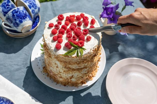 Stuk zelfgemaakte frambozenbiscuit op tafel in de tuin op zonnige ochtend