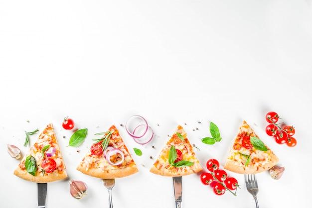 Stukken kaaspizza margarita